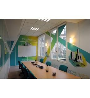 Vinyle mat décoration de bureau chez Actility.